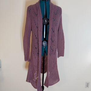 Soft Surroundings lilac knit open front cardigan